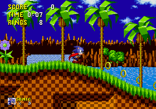 sonic the hedgehog green hill zone runing