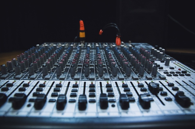 large audio mixing board front view pexels