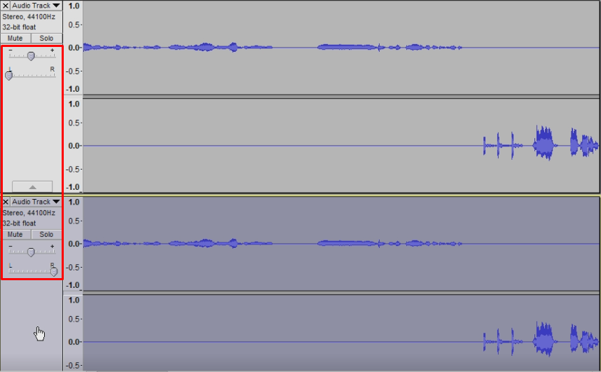 Assign your audio to the left channel and cable input to the right in audacity