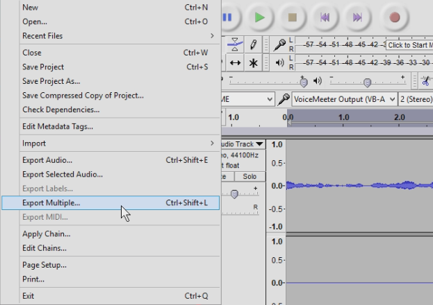 Now you can export both your audio tracks by going to file export multiple or using the keyboard shortcut crtl shift l