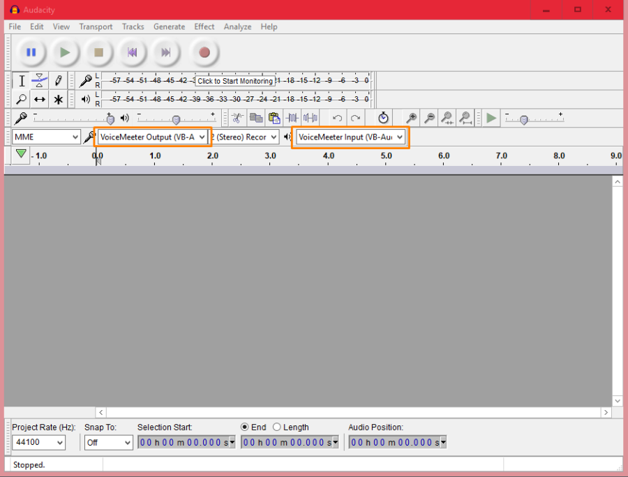 Set Voicemeeter Output as input device in audacity and voice meter input as the playback device